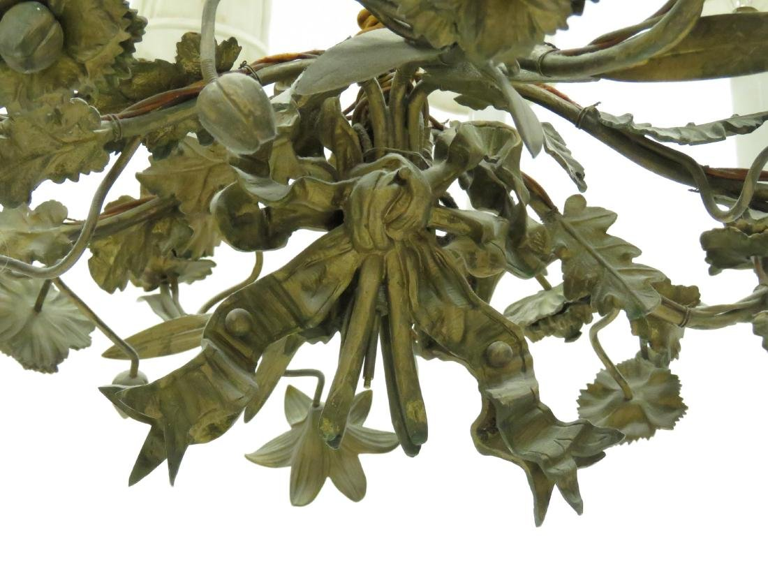 """PAIR FRENCH STYLE FLORAL-FORM CHANDELIERS. HEIGHT 23""""; - 2"""