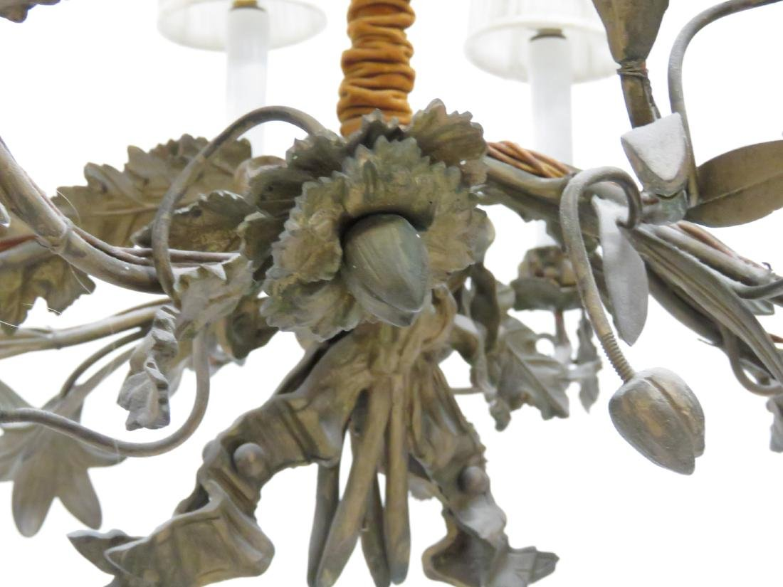 """PAIR FRENCH STYLE FLORAL-FORM CHANDELIERS. HEIGHT 23""""; - 3"""
