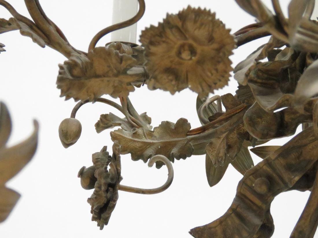 """PAIR FRENCH STYLE FLORAL-FORM CHANDELIERS. HEIGHT 23""""; - 4"""