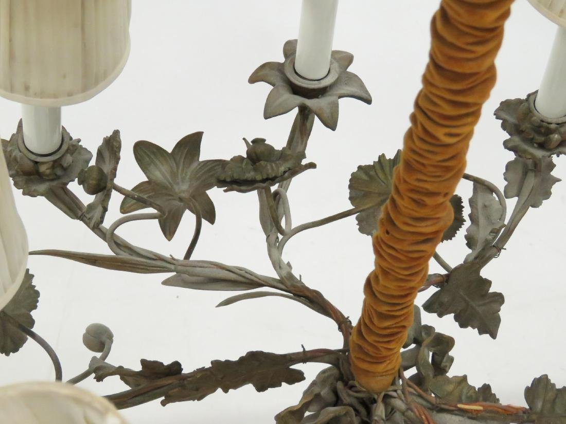 """PAIR FRENCH STYLE FLORAL-FORM CHANDELIERS. HEIGHT 23""""; - 6"""