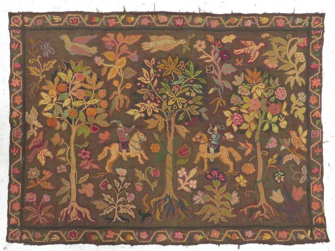 """VINTAGE FRENCH CHAIN STITCH TAPESTRY PANEL. 47 X 64"""""""