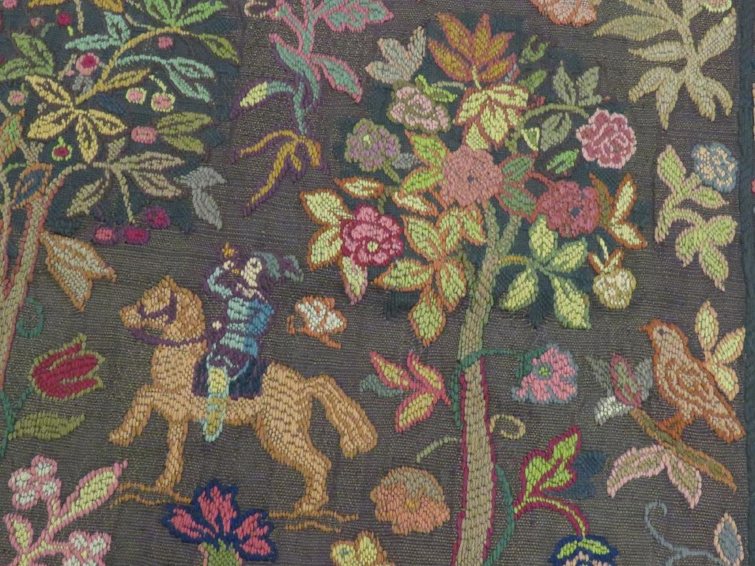 """VINTAGE FRENCH CHAIN STITCH TAPESTRY PANEL. 47 X 64"""" - 3"""