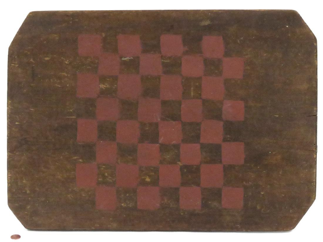 VINTAGE PAINTED PINE GAME BOARD, 19TH CENTURY. 22 X 15