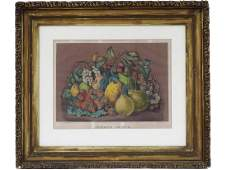 """CURRIER & IVES PUBLISHERS, LITHOGRAPH, """"SUMMER FRUITS"""","""