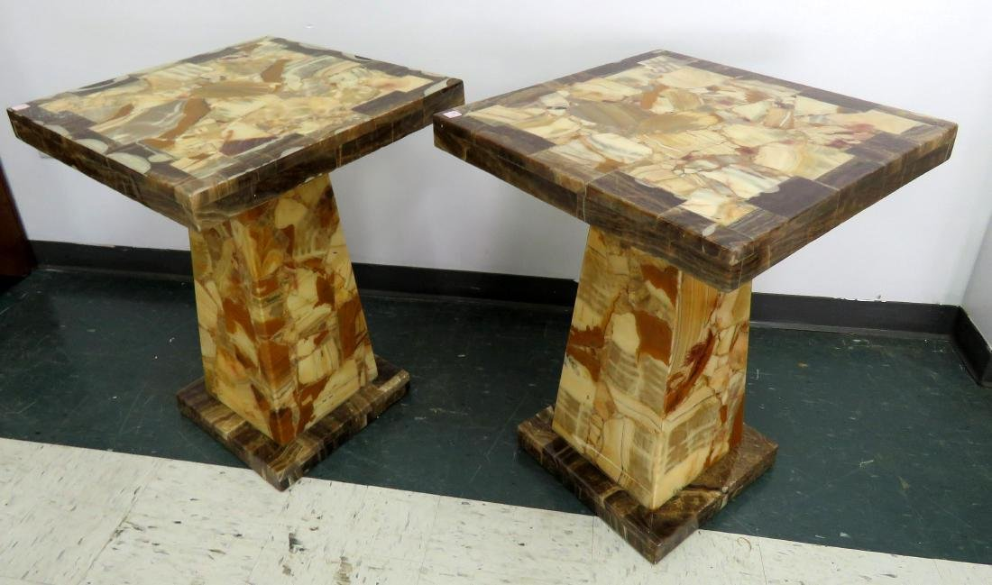 "PAIR DESIGNER AGATE PEDESTAL TABLES. HEIGHT 30""; TOP 24"