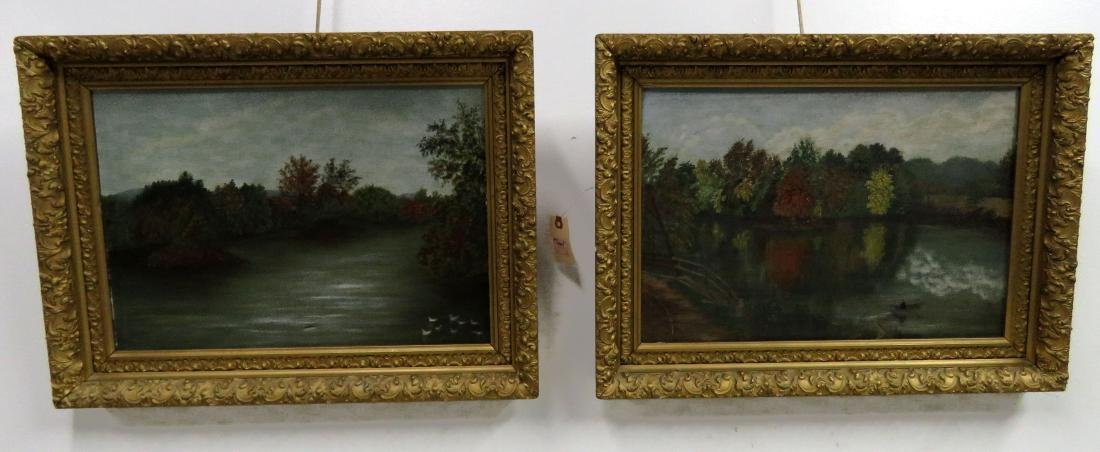AMERICAN SCHOOL (19TH CENTURY), LOT (2) OIL ON CANVAS,