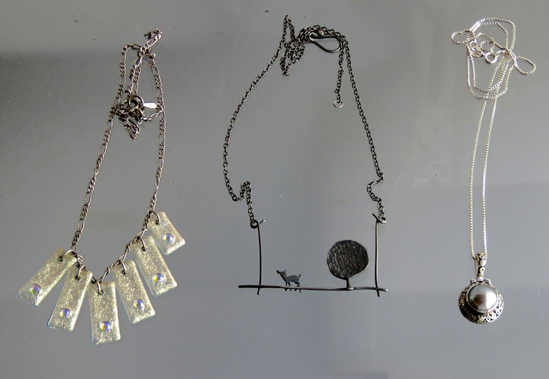 LOT (3) STERLING AND SILVER NECKLACES INCLUDING JANICE