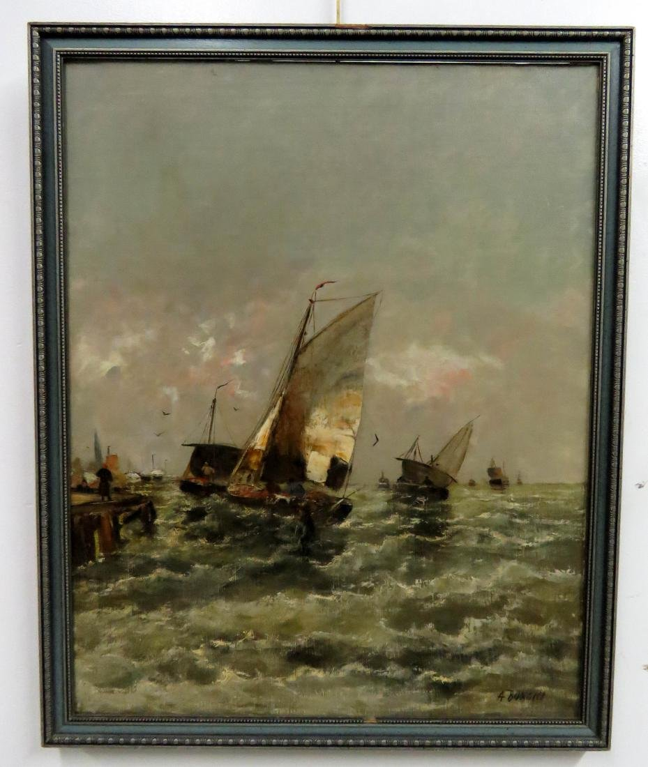 ITALIAN SCHOOL (20TH CENTURY), OIL ON CANVAS, FISHING
