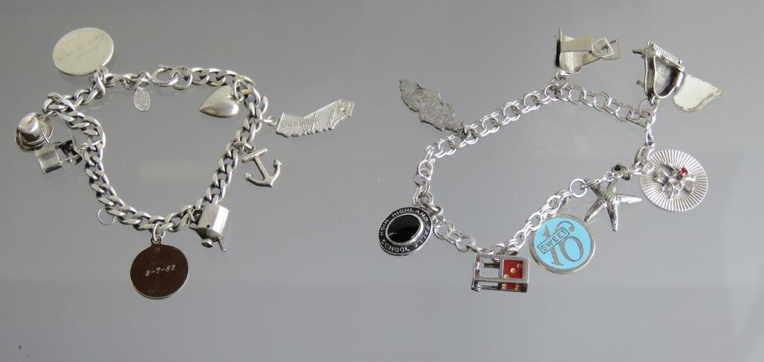 LOT (2) STERLING BRACELETS WITH CHARMS (1/STIRRUP CHARM
