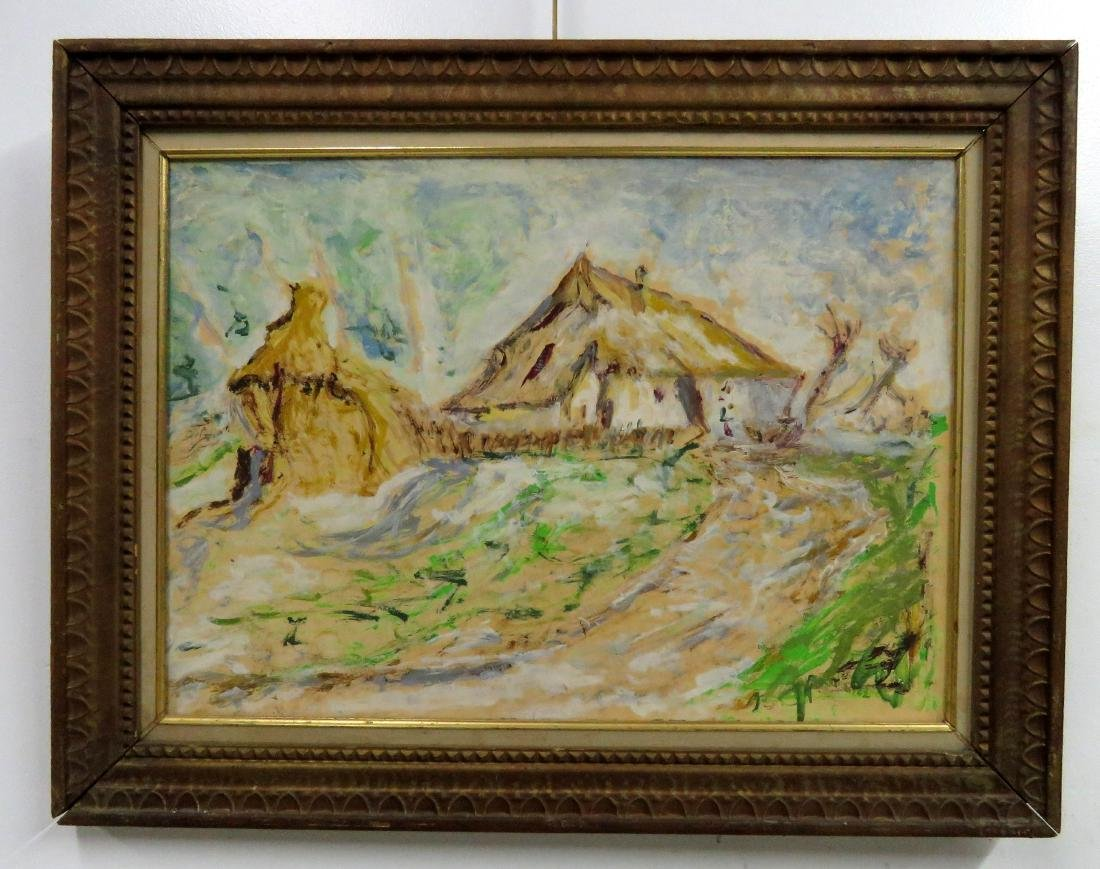 POLISH SCHOOL (20TH CENTURY), OIL ON BOARD, COTTAGE AND