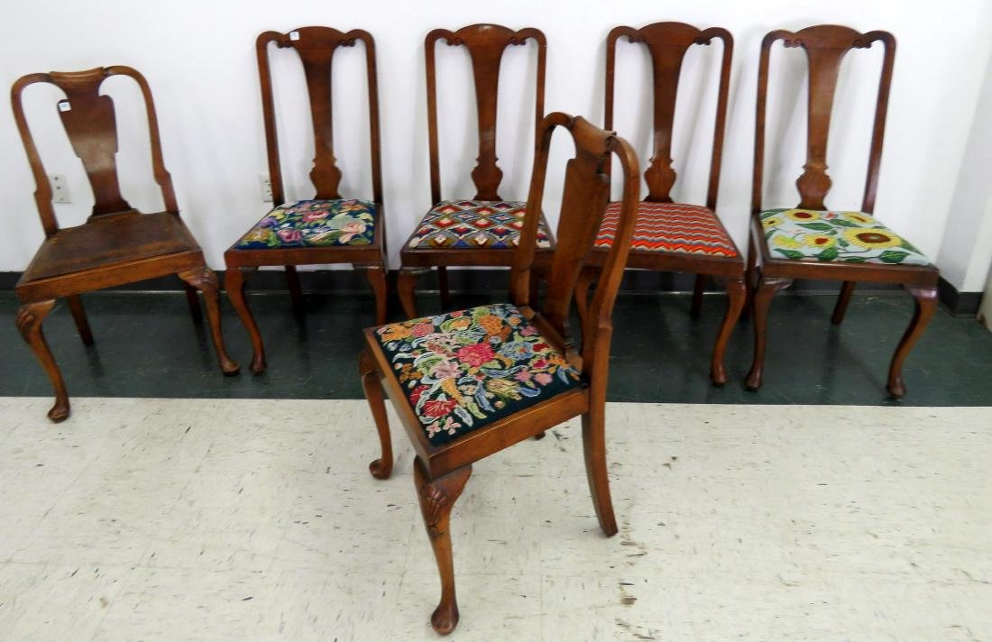 ASSEMBLED SET (6) QUEEN ANNE STYLE SIDE CHAIRS
