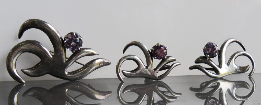 SET MEXICAN TAXCO STERLING AND PURPLE CZ ABSTRACT