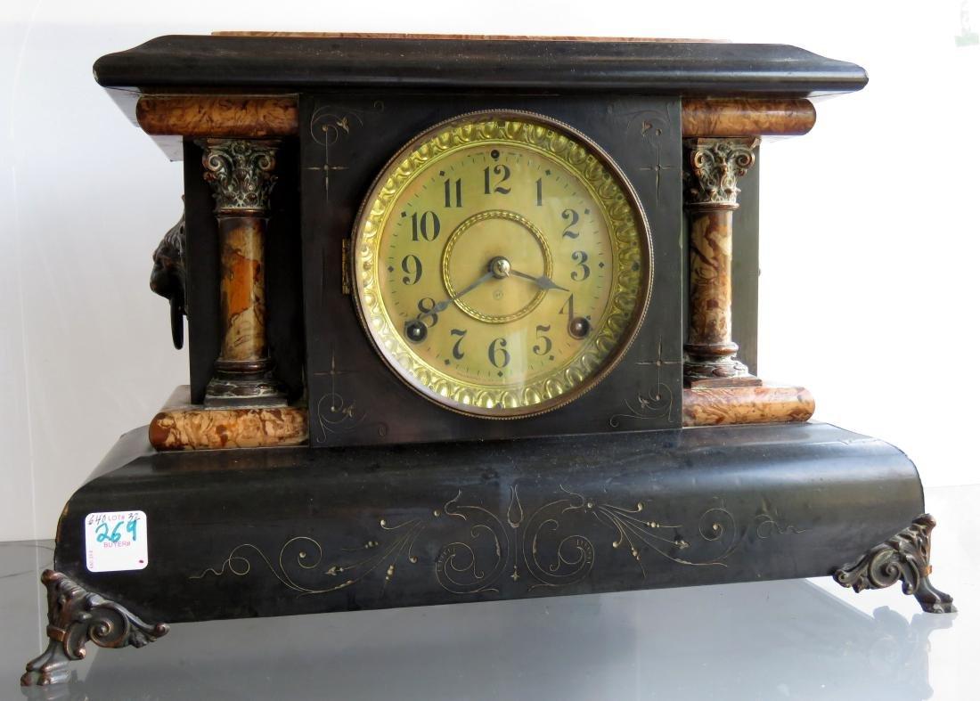 VINTAGE SETH THOMAS EBONIZED MANTLE CLOCK. HEIGHT 11