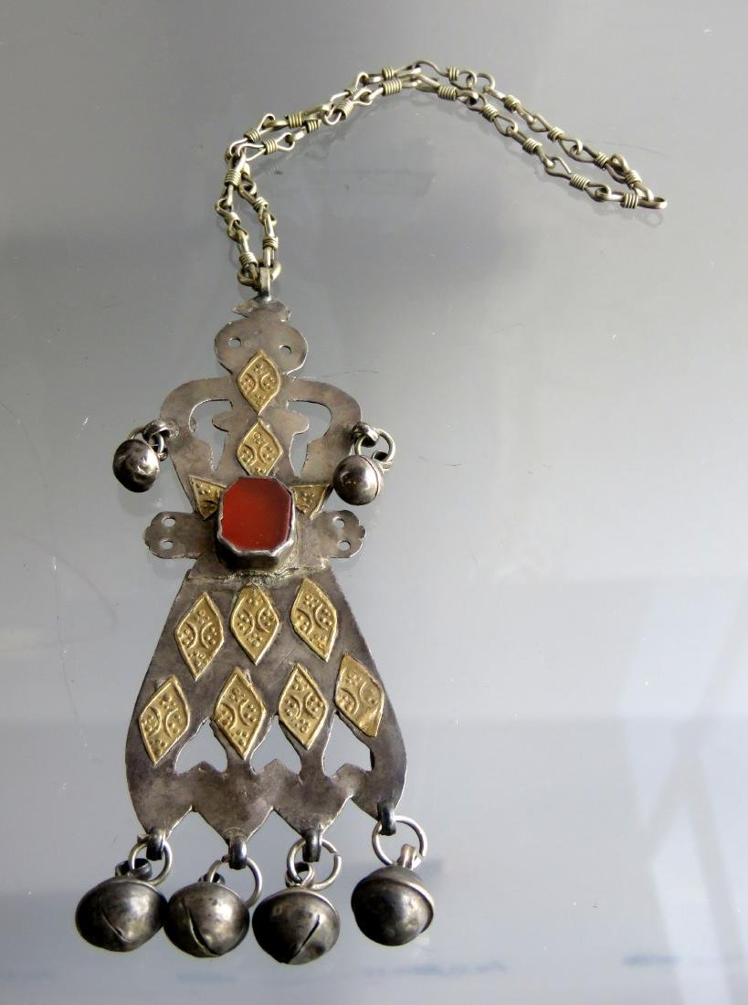 SILVER/BRASS/SARD FIGURAL PENDANT WITH 11-INCH SILVER