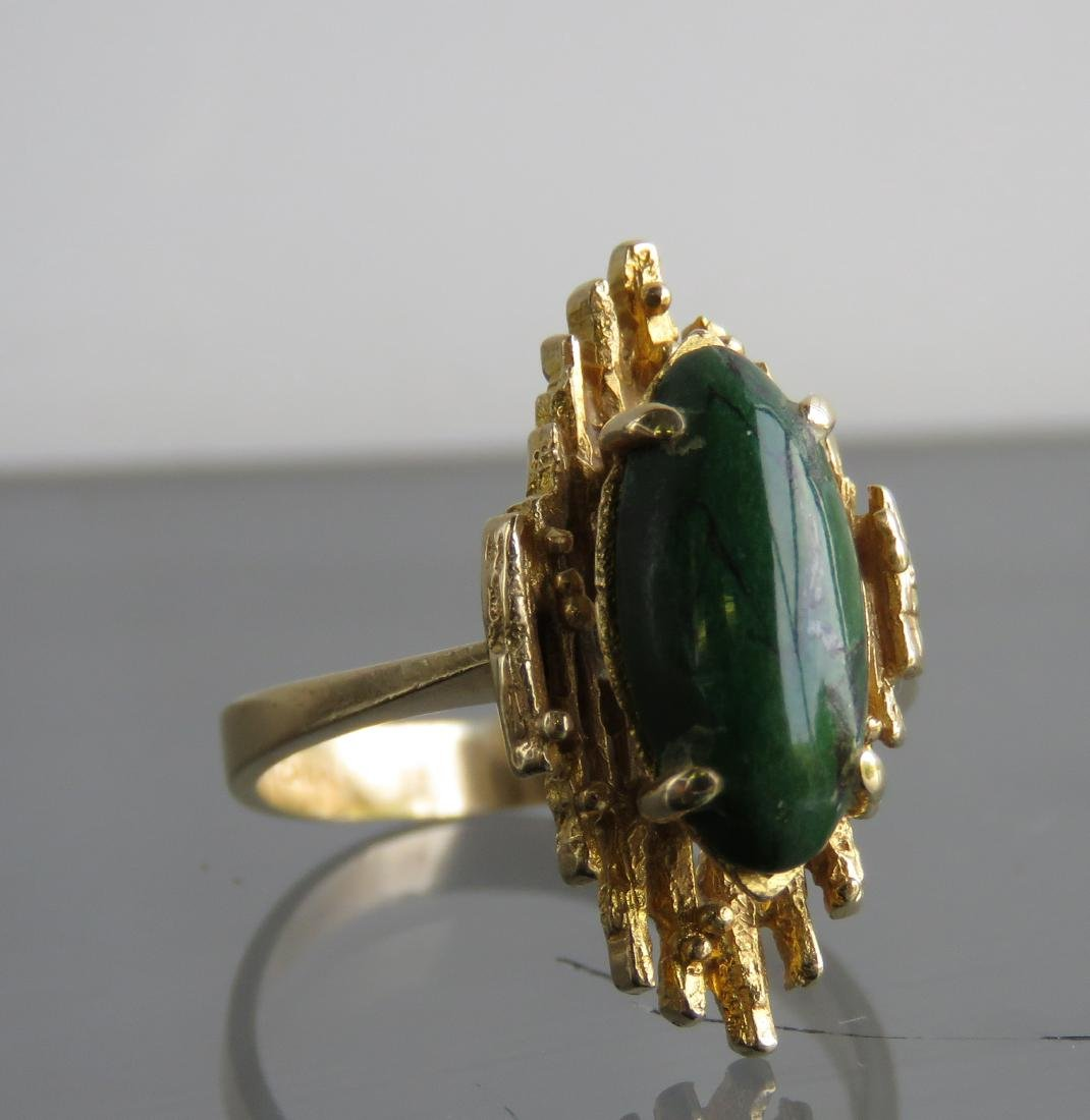 14K YELLOW GOLD AND GREEN HARDSTONE RING. RING SIZE 7 - 2