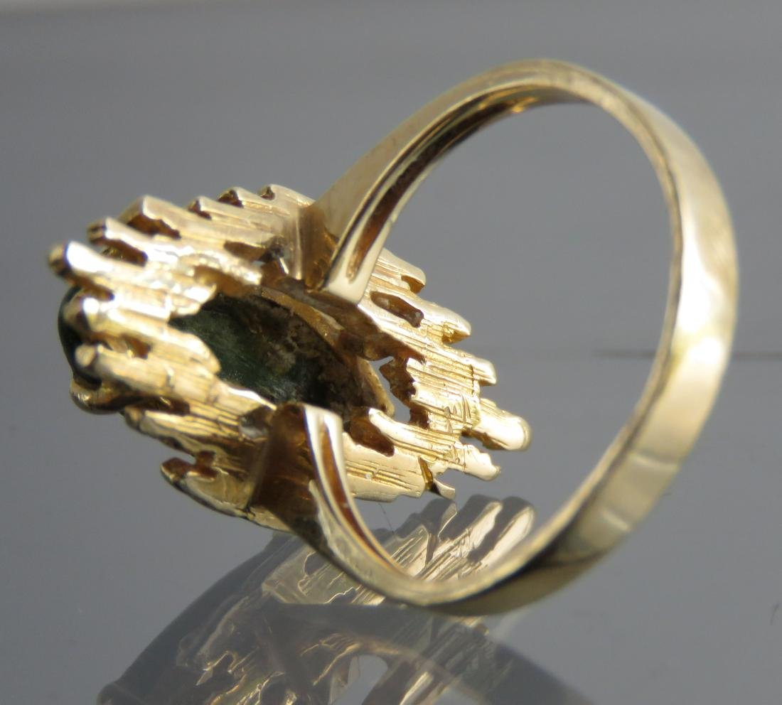 14K YELLOW GOLD AND GREEN HARDSTONE RING. RING SIZE 7 - 3
