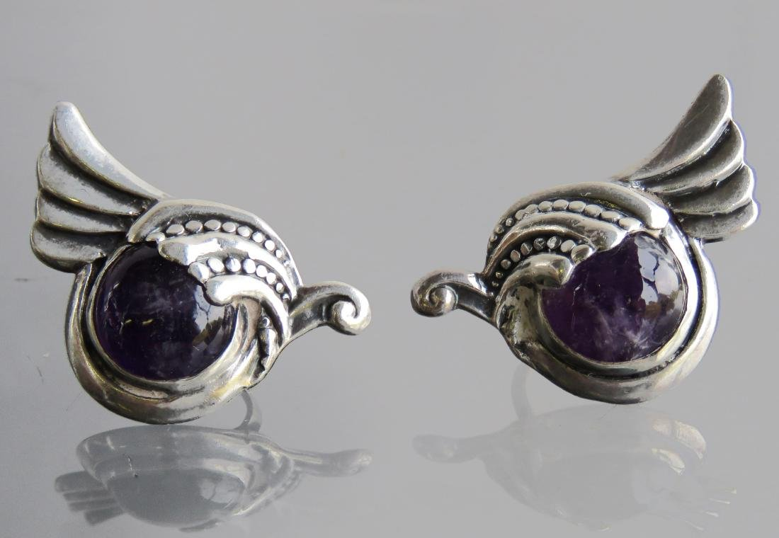 PAIR MARGOT DE TAXCO STERLING AND AMETHYST SCREW-BACK