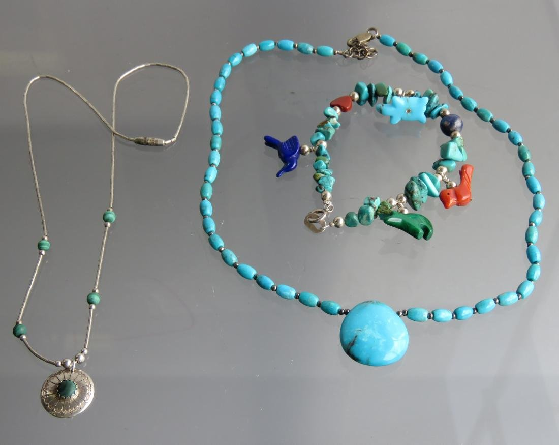 LOT (3) SOUTHWEST AMERICAN INDIAN SILVER, TURQUOIS AND