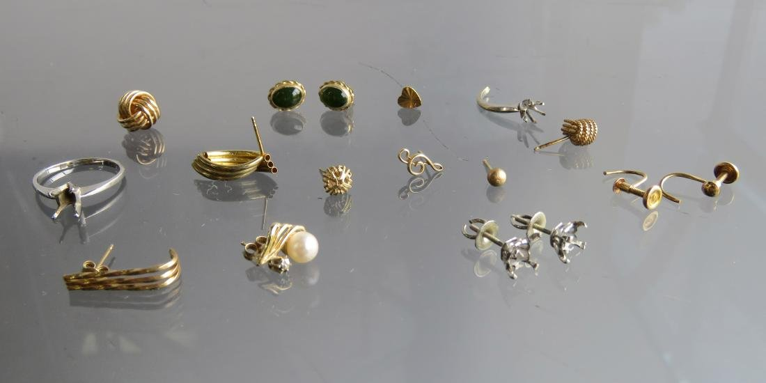 LOT ASSORTED 14K GOLD, CULTURE PEARL AND GEM SET SINGLE