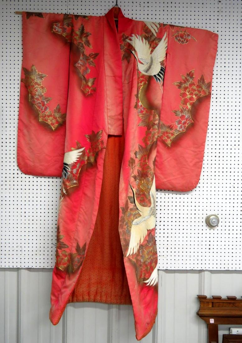 JAPANESE EMBROIDERED SILK CRANES WEDDING KIMONO