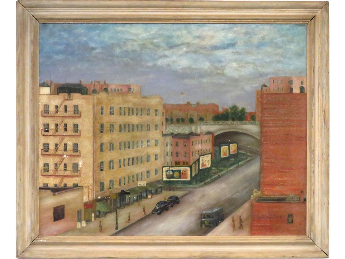 AMERICAN SCHOOL (20TH CENTURY), OIL ON CANVAS, NY URBAN