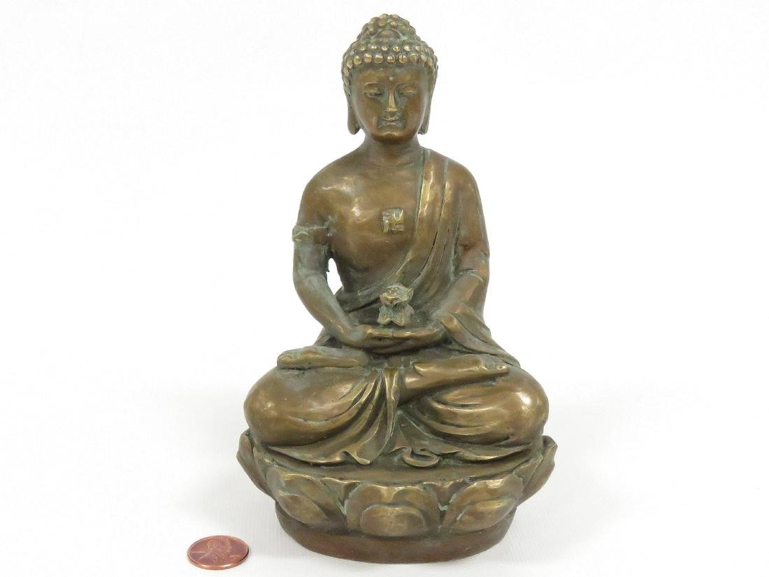 SINO TIBETAN COPPER ALLOY SEATED BUDDHA, SIGNED. HEIGHT