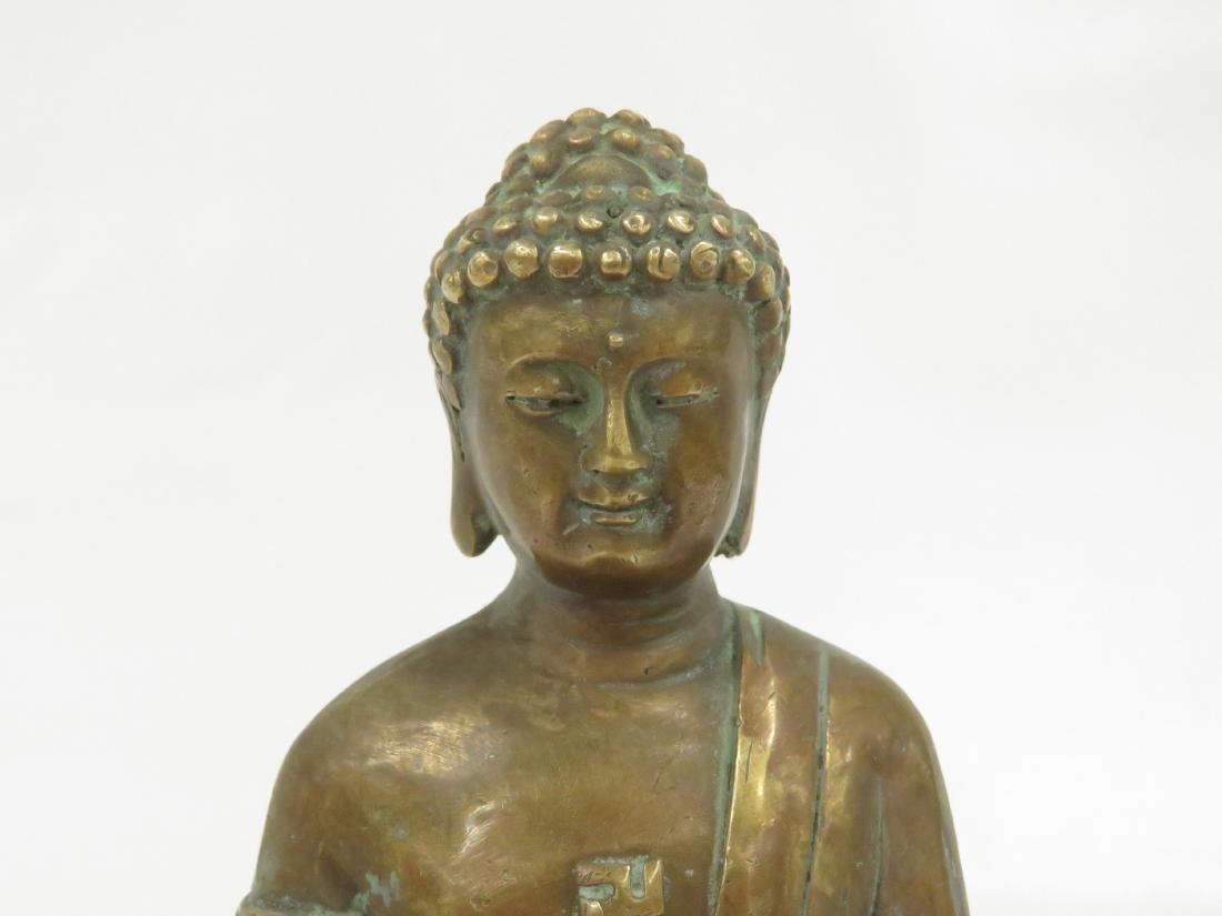 SINO TIBETAN COPPER ALLOY SEATED BUDDHA, SIGNED. HEIGHT - 2