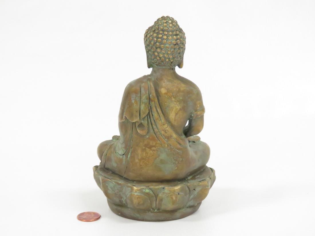 SINO TIBETAN COPPER ALLOY SEATED BUDDHA, SIGNED. HEIGHT - 3