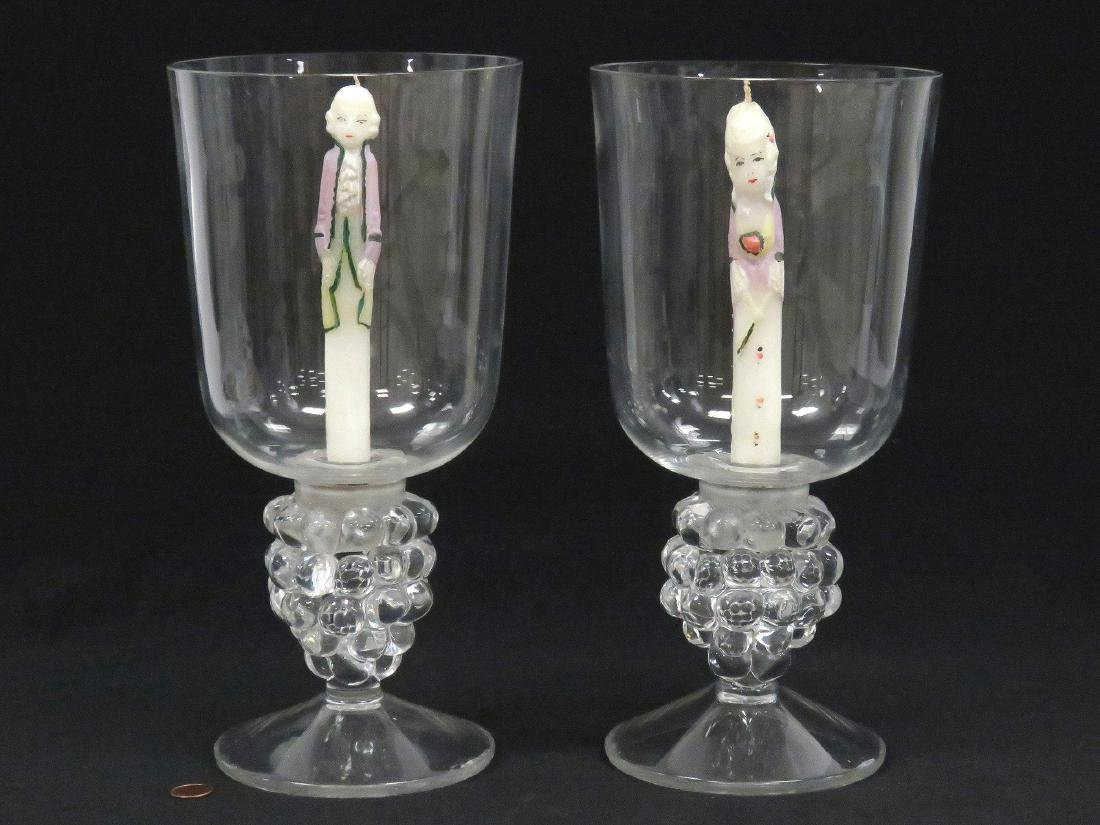 PAIR CRYSTAL GRAPE CLUSTER-FORM HURRICANE GLASS