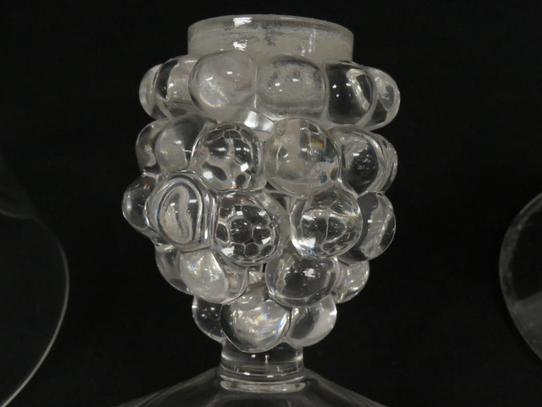 PAIR CRYSTAL GRAPE CLUSTER-FORM HURRICANE GLASS - 5