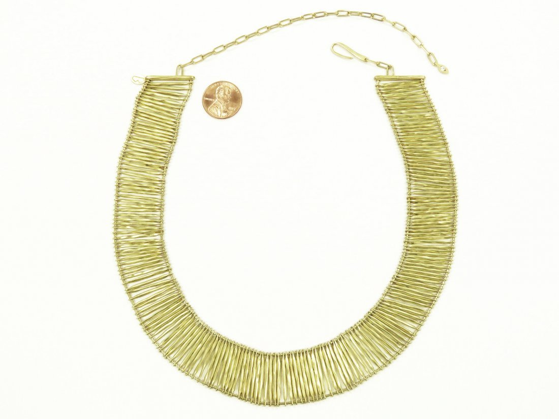 """750 YELLOW GOLD BOX-LINK CHOKER NECKLACE. LENGTH 13"""""""