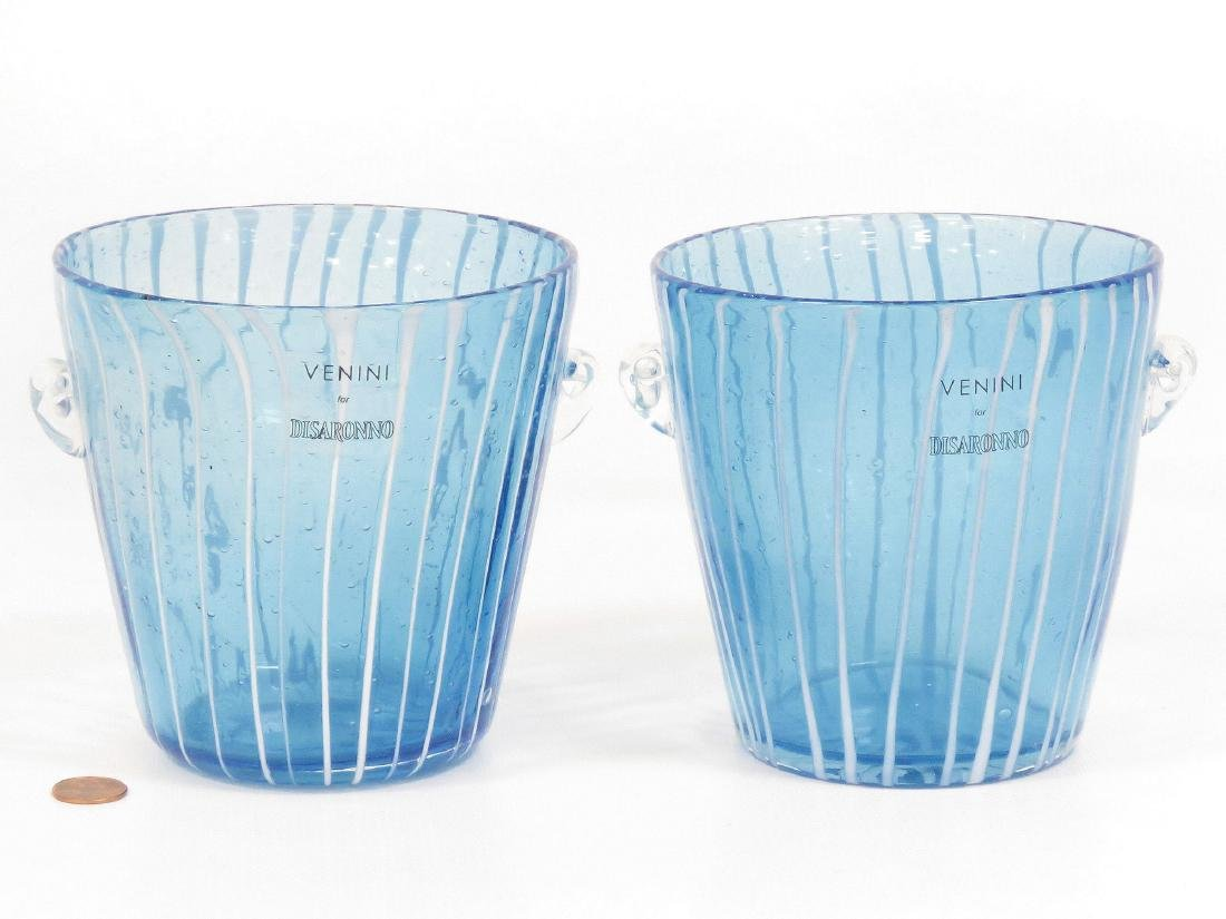 LOT (2) VENETIAN ART GLASS ICE BUCKETS