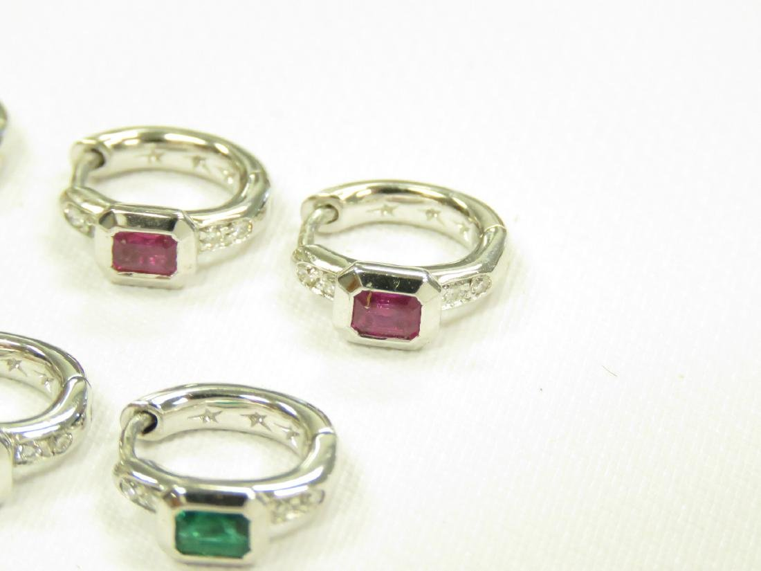 (3) PAIRS ITALIAN 18K WHITE GOLD, DIAMOND, RUBY, - 2