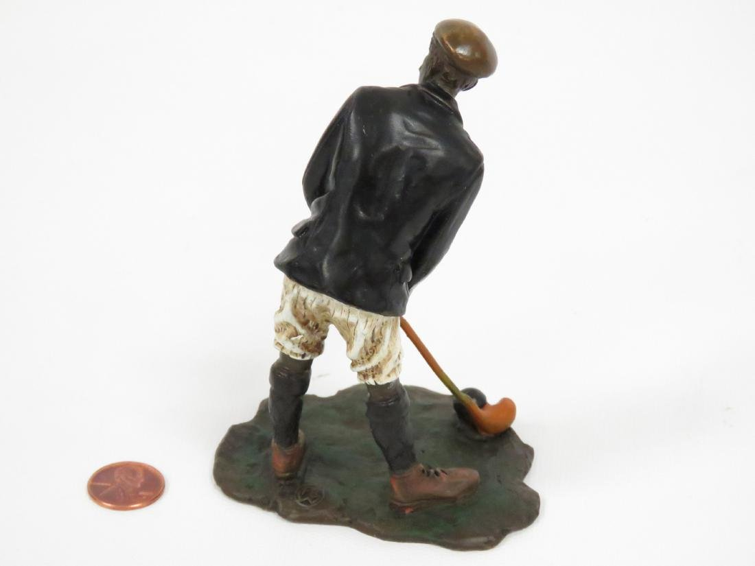 COLD PAINTED VIENNA BRONZE, GOLFER, SIGNED. HEIGHT 4 - 2