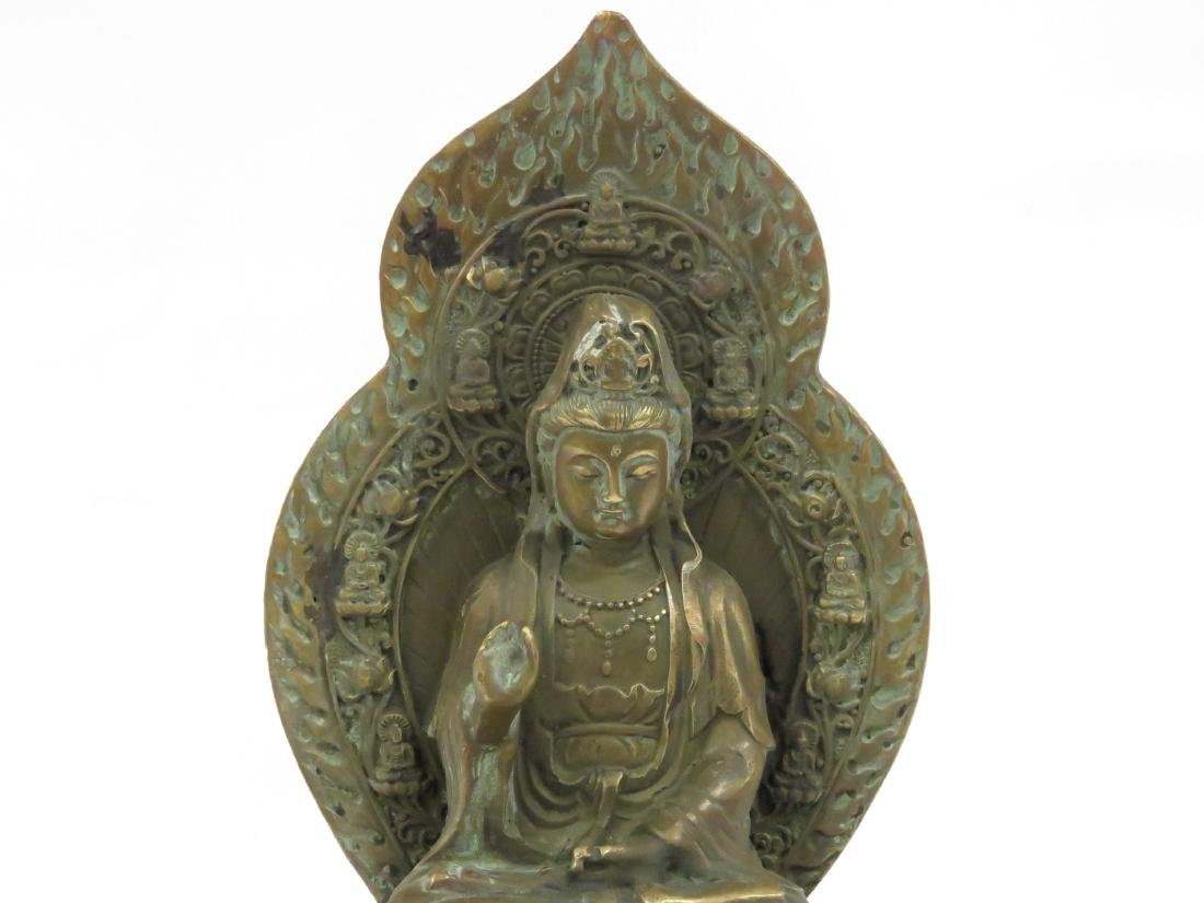 SINO TIBETAN COPPER ALLOY SEATED BUDDHA, SIGNED. HEIGHT - 2
