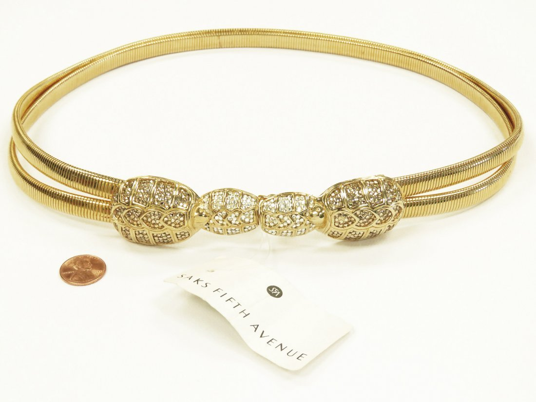 JUDITH LEIBER DOUBLE OMEGA SNAKE CHAIN LINK BELT WITH