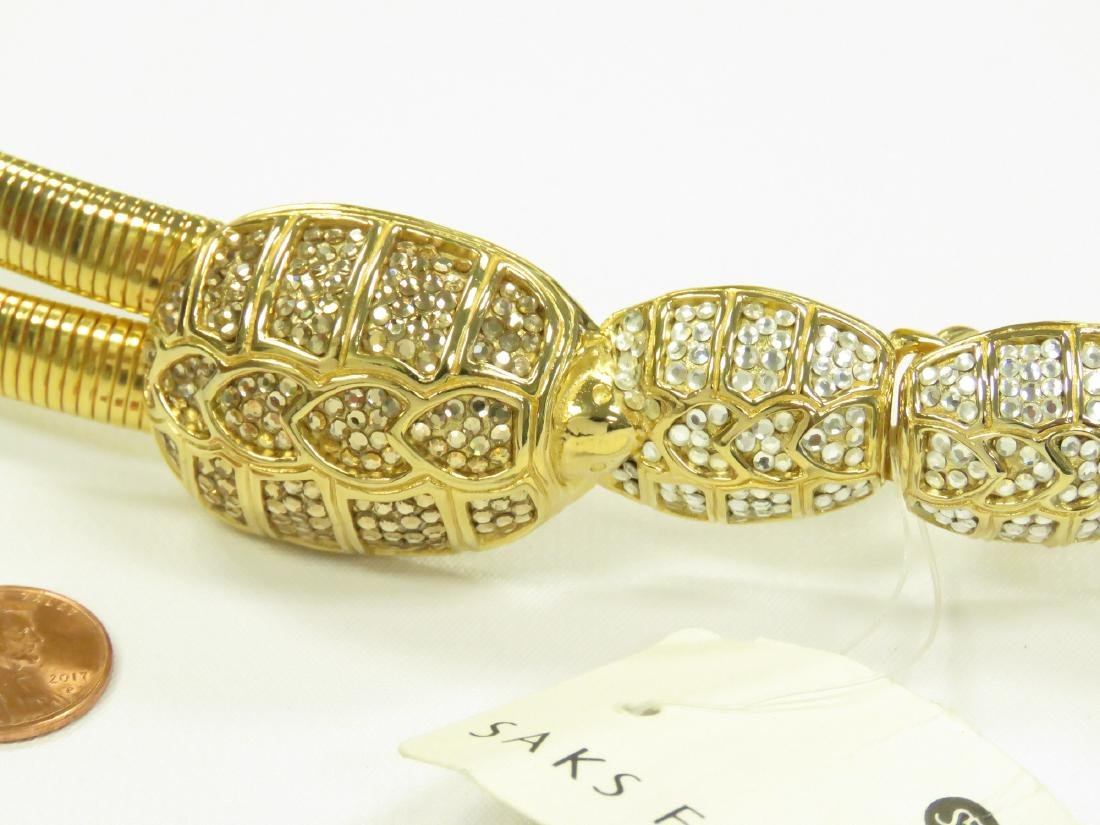 JUDITH LEIBER DOUBLE OMEGA SNAKE CHAIN LINK BELT WITH - 2