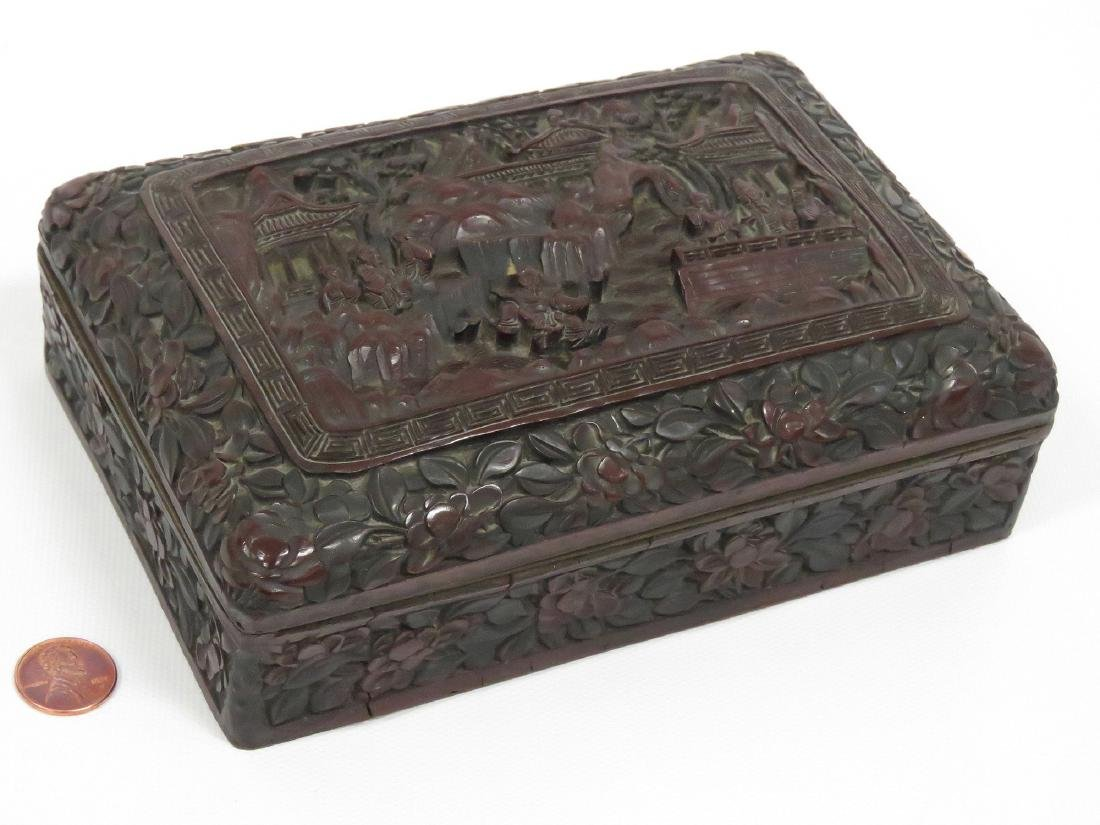 CHINESE CARVED CINNABAR COVERED BOX, SIGNED, CHING.