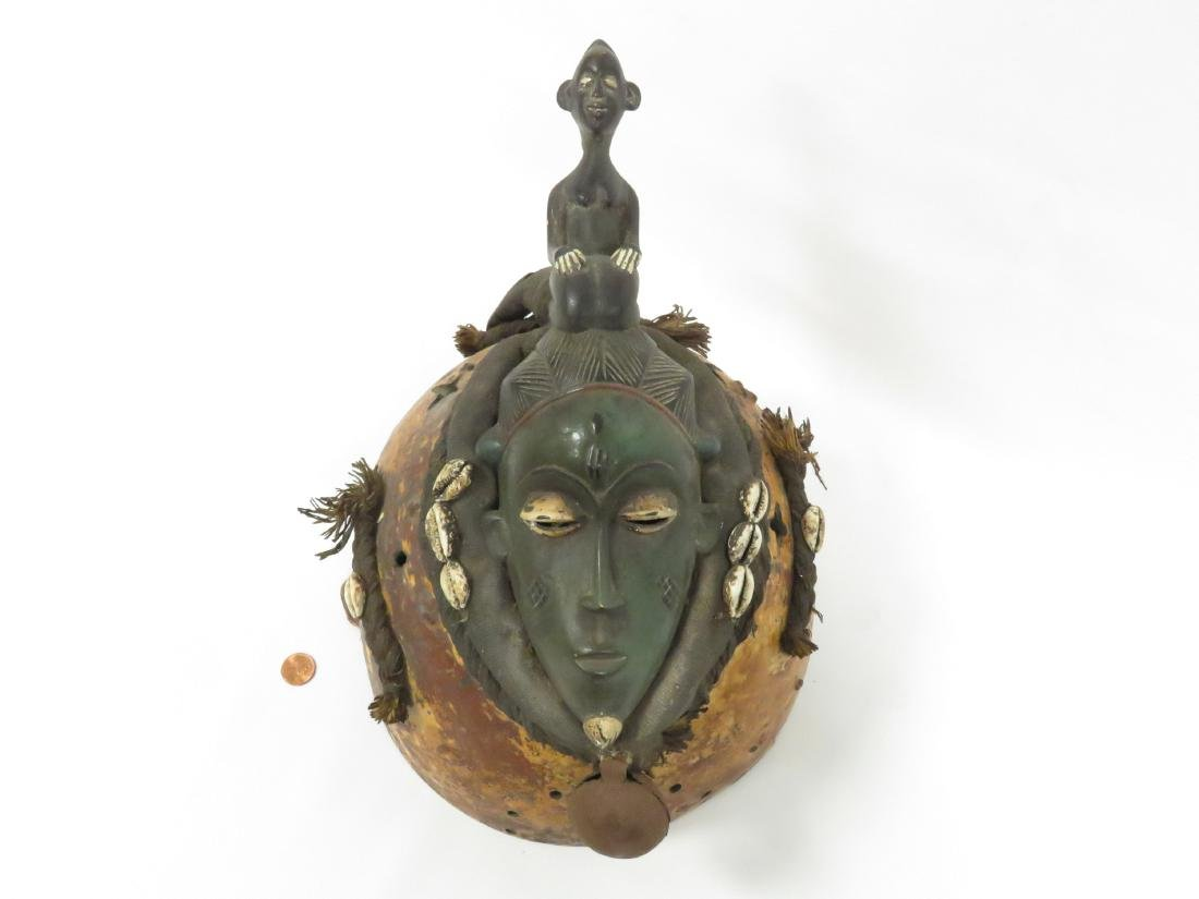 SENUFO, IVORY COAST, CARVED, GOURD AND COWRIE SHELL - 2