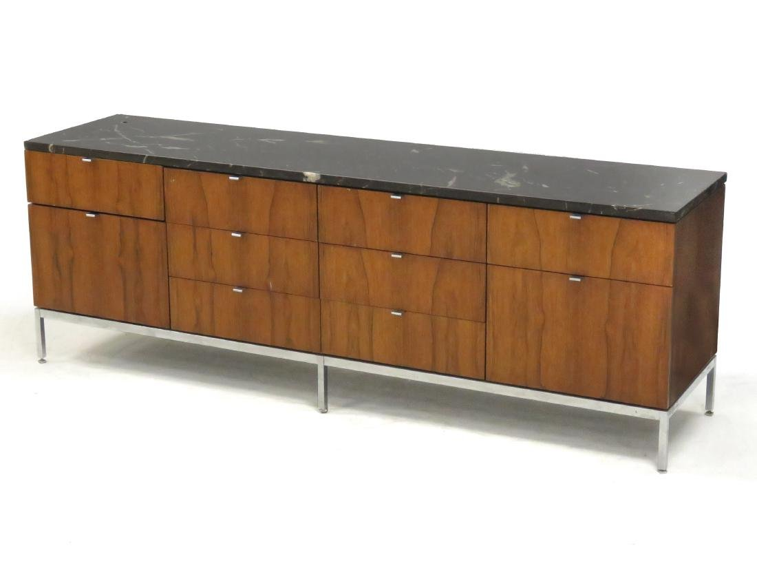 ROSEWOOD AND CUSTOM ORDER BLACK MARBLE CREDENZA, KNOLL