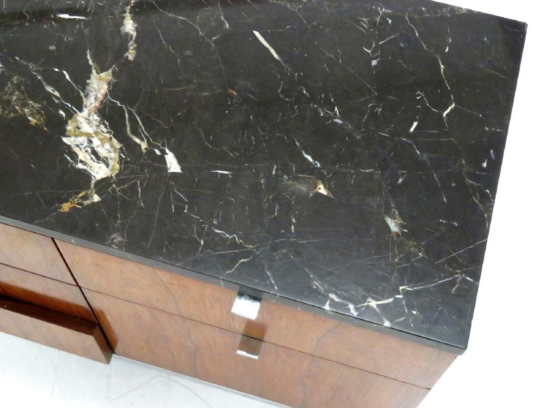 ROSEWOOD AND CUSTOM ORDER BLACK MARBLE CREDENZA, KNOLL - 4