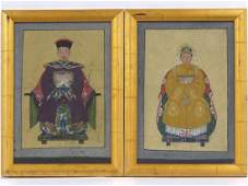 CHINESE SCHOOL (19TH CENTURY), PAIR GOUACHE ON CANVAS,