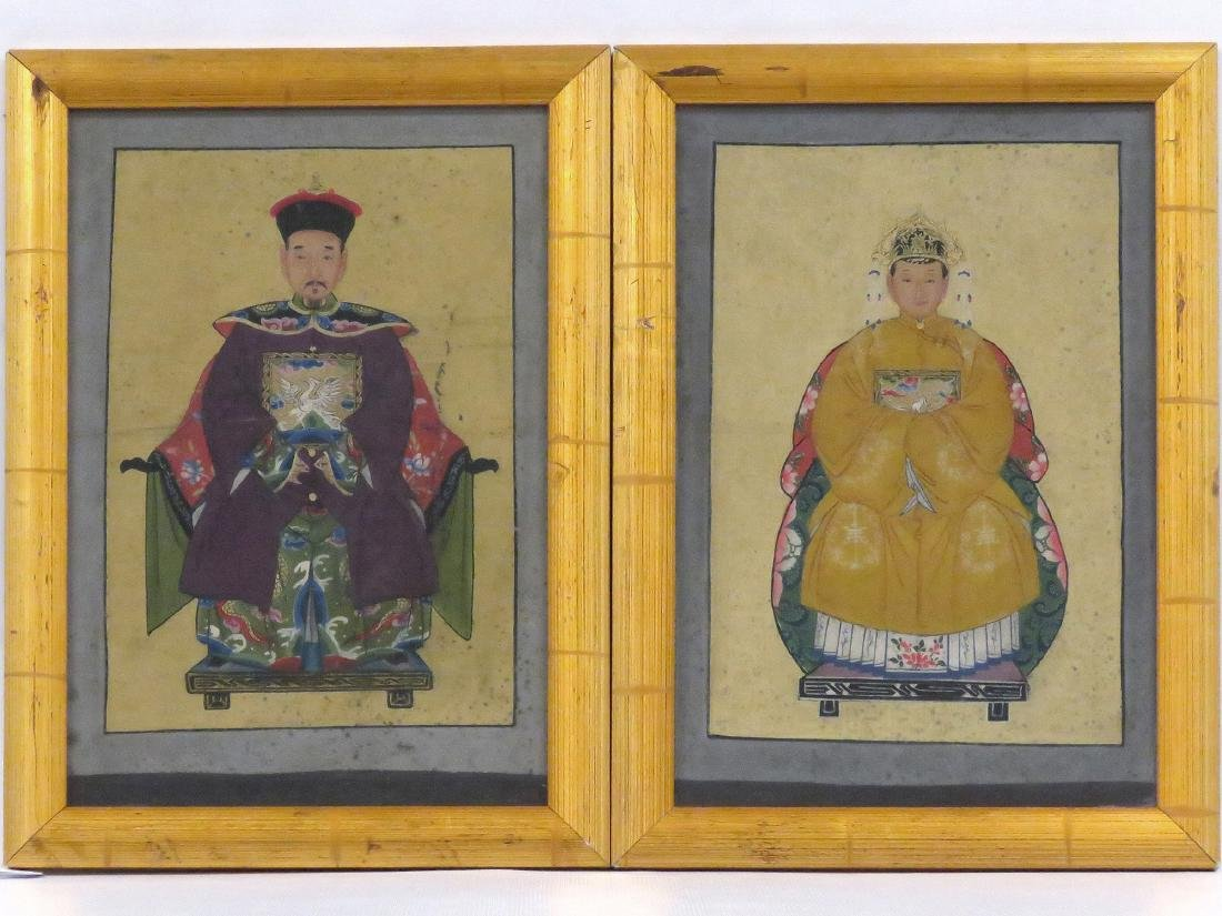 CHINESE SCHOOL (19TH CENTURY), PAIR GOUACHE ON CANVAS,