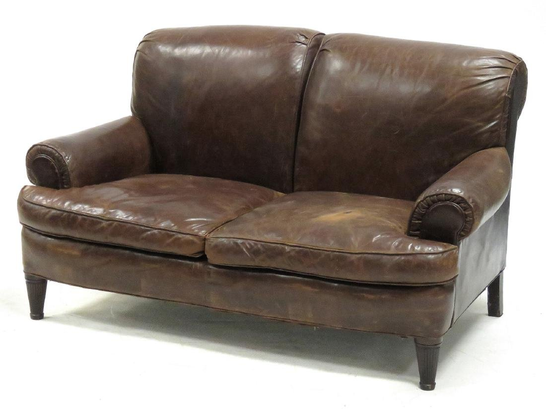 "RALPH LAUREN LEATHER SOFA. HEIGHT 37""; LENGTH 64"""