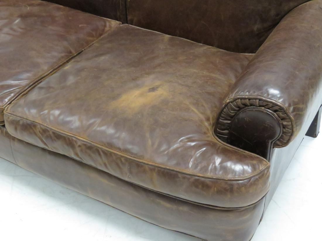 "RALPH LAUREN LEATHER SOFA. HEIGHT 37""; LENGTH 64"" - 3"