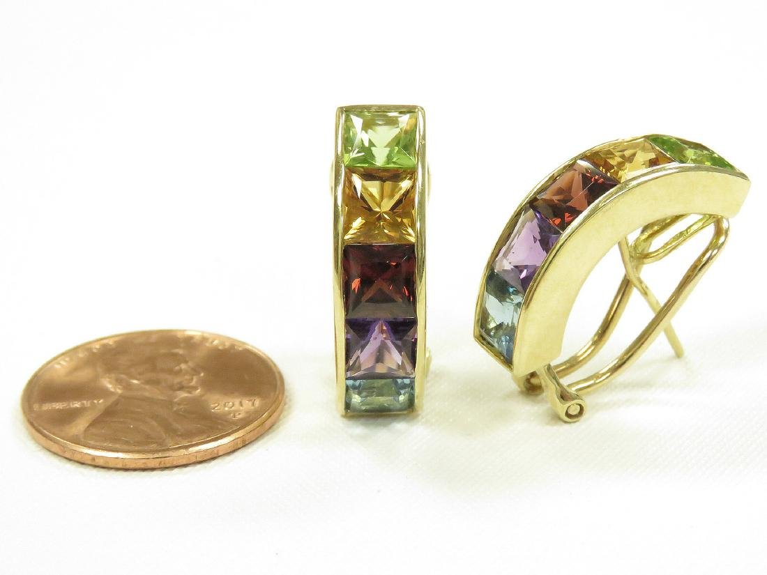 PAIR 750 YELLOW GOLD AND RAINBOW SEMI-PRECIOUS STONE