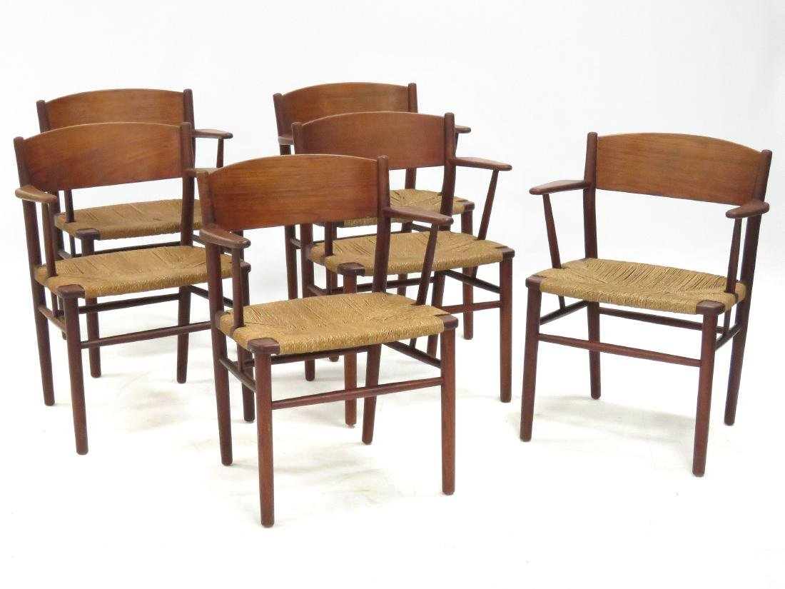 SET (6) BORGE MOGENSEN TEAK/RUSH SEAT DINING CHAIRS,
