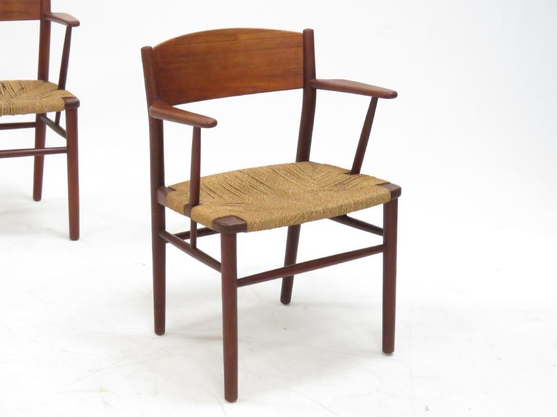 SET (6) BORGE MOGENSEN TEAK/RUSH SEAT DINING CHAIRS, - 2