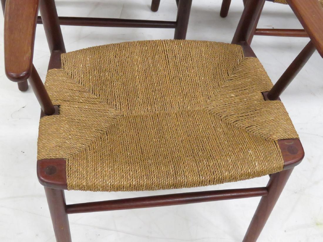 SET (6) BORGE MOGENSEN TEAK/RUSH SEAT DINING CHAIRS, - 3