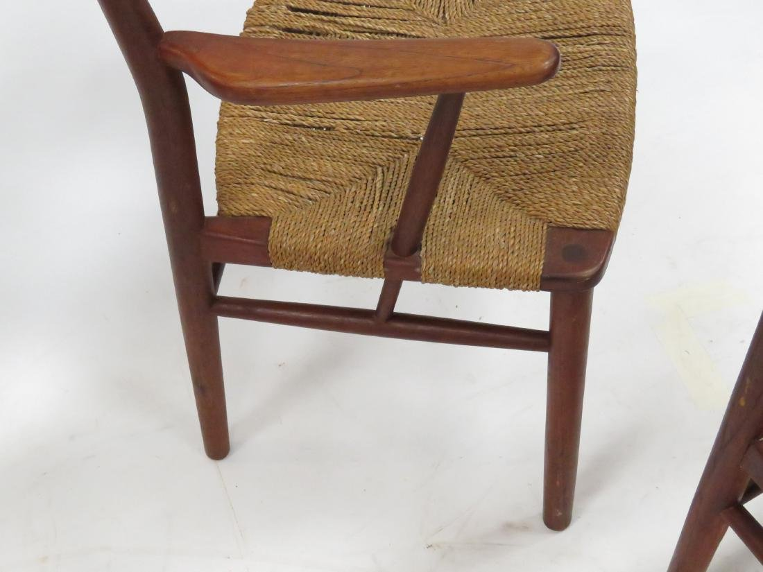 SET (6) BORGE MOGENSEN TEAK/RUSH SEAT DINING CHAIRS, - 5